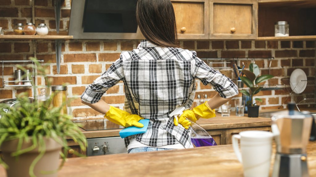 Woman standing in a kitchen with gloves on looking like she just finished cleaning it.