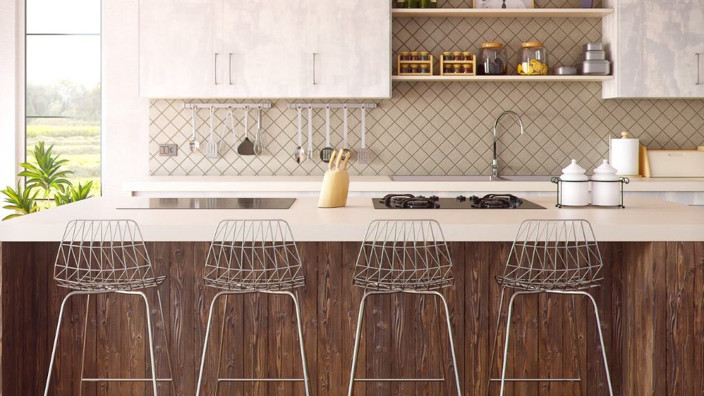 Luxurious marble finishes in a modern dream home kitchen.