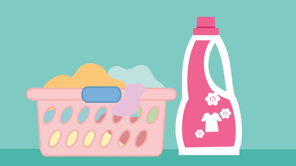 Laundry detergent and basket of laundry.